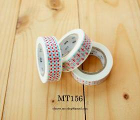 Japanese Masking tape, MT156, RED BLUE dot