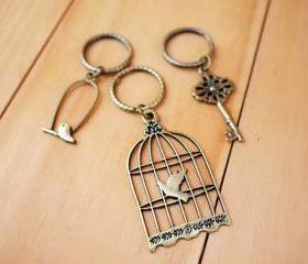 Charm Keychain, Bird cage and Key set