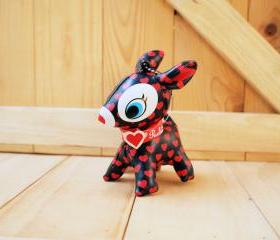 Puchi Babie, Bambi deer key chain, Black, Red heart