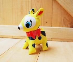 Puchi Babie, Bambi deer key chain, Yellow dot